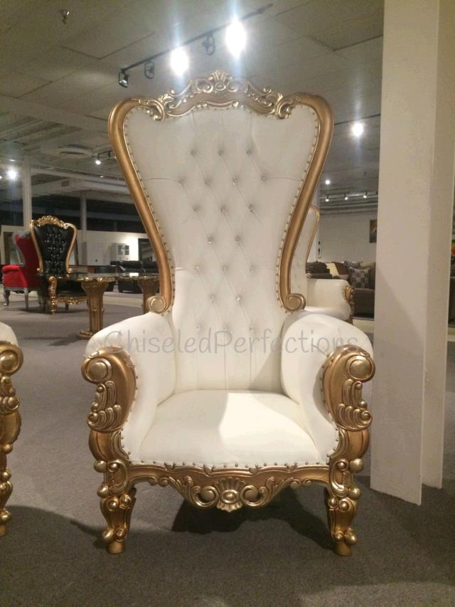 Throne Chair Ivory W Gold Trim Rentals New Orleans La
