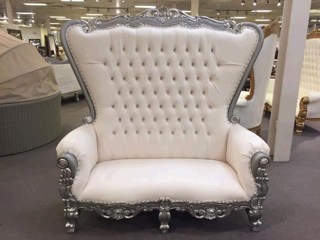 Throne Loveseat Ivory W Silver Trim Rental New Orleans La