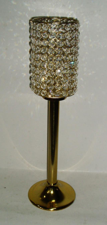 Vase Gold Crystal Cylinder 20 Inch Rentals New Orleans La